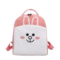 MC247 - Cute Rabbit & Bear (Cony & Brown) Soft Fabric Backpack / Casual Convenient Shopping Bag