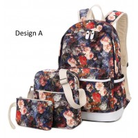 MC252 - Youth Beauty Blossom Floral Design Girls Cute 3 in 1 Backpack / Superior Quality HD Printing Bag