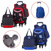 MC256 - Cool Colorful Design School Kids Six Wheels Trolley Backpack