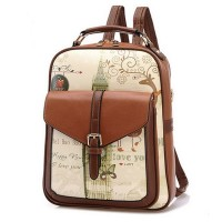 MC269 - Korean Stylish Leather Girl Casual Backpack / Cute Delicate Small Daily Bag