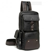 MC282 - New Era Design Coolest Man's Chest Pouch / Long Shape Quality Leather Man's Sling Bag