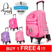 mc304 - Barbie Design 6 Wheels Korean Stylish Kids Trolley Backpack / Primary School Student Trolley Bag