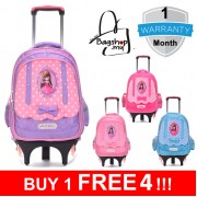 mc293 - Barbie Design 6 Wheels Student Girl Trolley Backpack / Kids Trolley School Bag