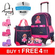 mc294 - 3 in 1 Primary School Trolley Backpack / Kids 6 Wheels Student Trolley Bag