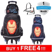 mc296 - IronMan Cool Design Avengers Kids Trolley Backpack / 6 Wheels Student Trolley School Bag