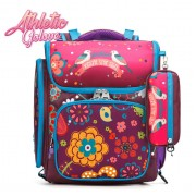 mc299 - Floral Blossom Deisgn Primary School Bag / Cute Girl Trolley 6 Wheels Bag - PK3