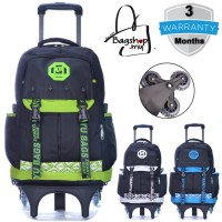 mc308 - Stylish Cool Korean Design 6 Wheels Primary School Student Trolley Backpack -G3