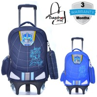 mc309 - Cartoon Transformer Primary School Kids Trolley Backpack / 6 Wheels Strudent Trolley Bag -G3